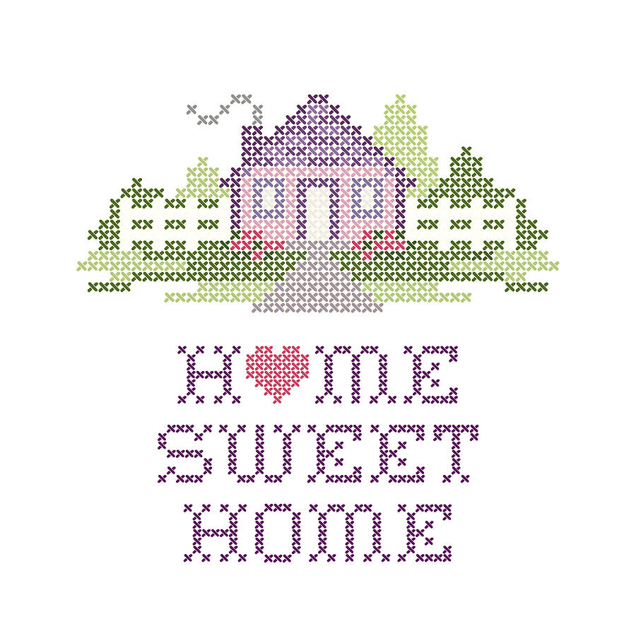 Home sweet home cross stitch embroidery digital art by j m for Home sweet home designs