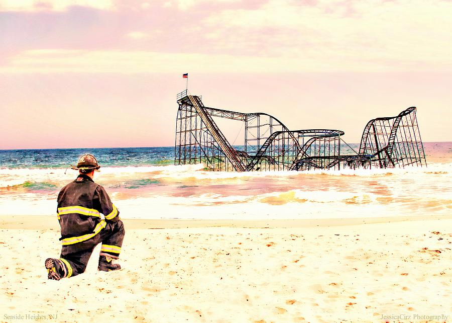 Hurricane Sandy Fireman Photograph