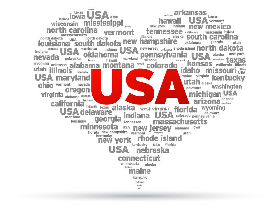 Usa Drawing - I Love Usa by Aged Pixel