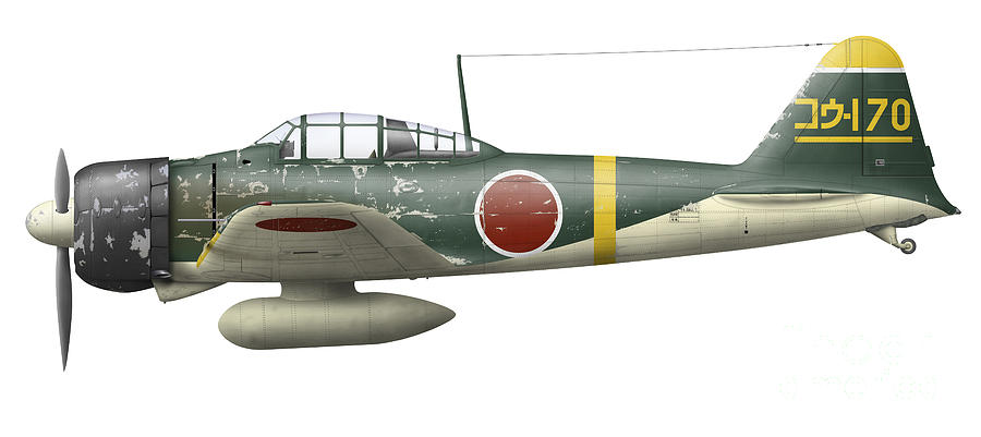 Illustration Of A Mitsubishi A6m2 Zero Digital Art  - Illustration Of A Mitsubishi A6m2 Zero Fine Art Print