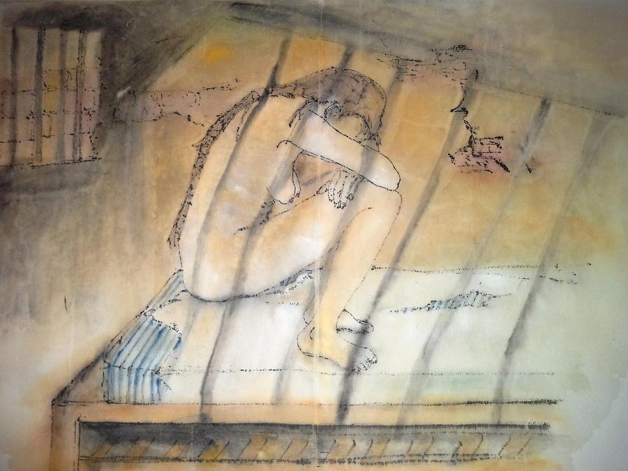 Mental Illness. Patient. Locked Room. Shadows Of Mental Illness Painting - Inside Mental Illness Album by Debbi Chan