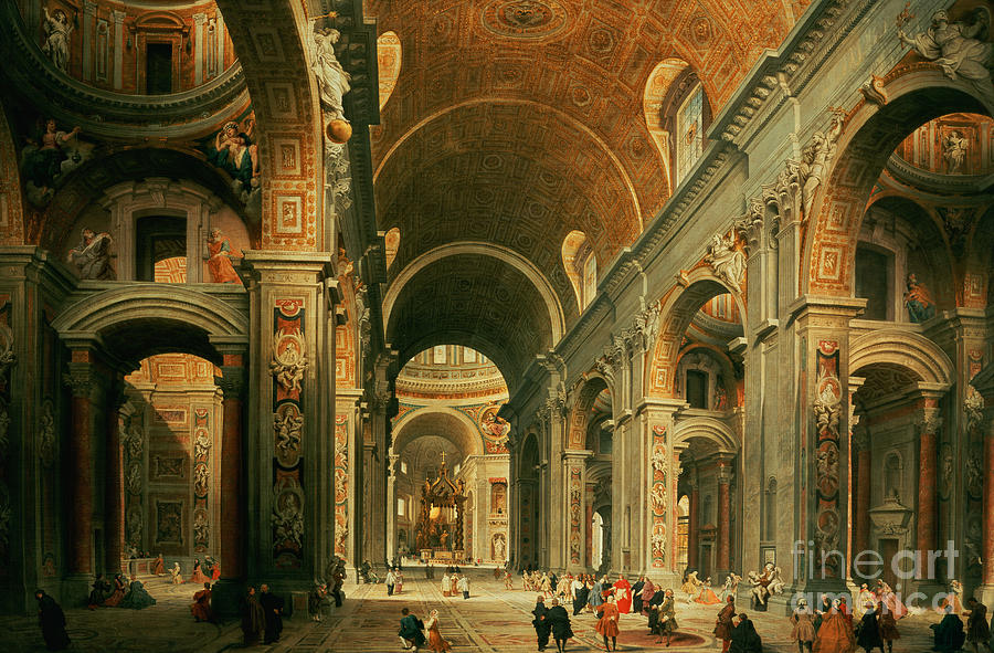 Interior Of St Peters In Rome Painting  - Interior Of St Peters In Rome Fine Art Print