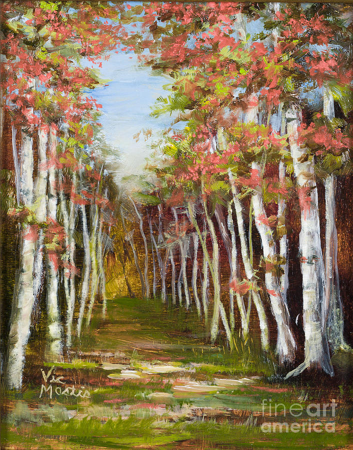 Into The Woods-series With Gold Leaf By Vic Mastis Painting  - Into The Woods-series With Gold Leaf By Vic Mastis Fine Art Print
