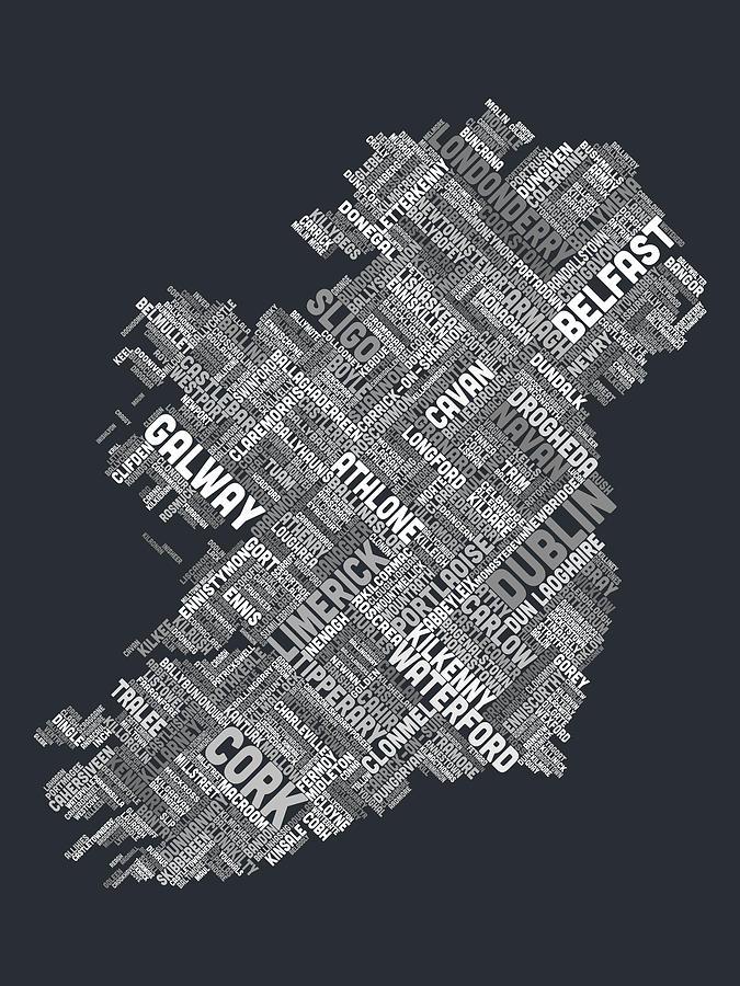 Ireland Eire City Text Map Digital Art