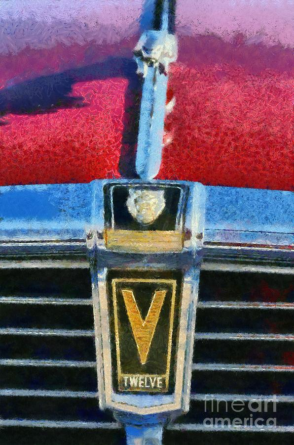 Jaguar V12 Badge Painting  - Jaguar V12 Badge Fine Art Print