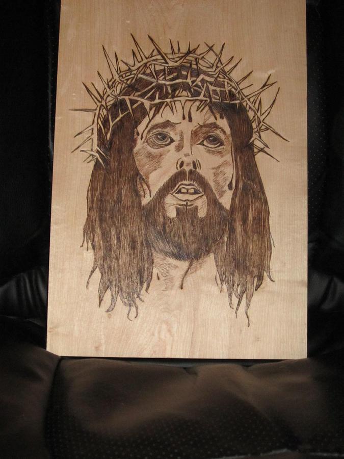 Portrait Pyrography - Jesus Crucifixion by N Gardner