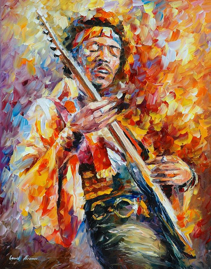 Afremov Painting Palette Knife Art Handmade Surreal Abstract Oil Landscape Original Realism Unique Special Life Color Beauty Admiring Light Reflection Piece Renown Authenticity Smooth Certificate Colorful Beauty Perspective Golden Treasure Sunny Love Jimi Hendrix Painting - Jimi Hendrix by Leonid Afremov