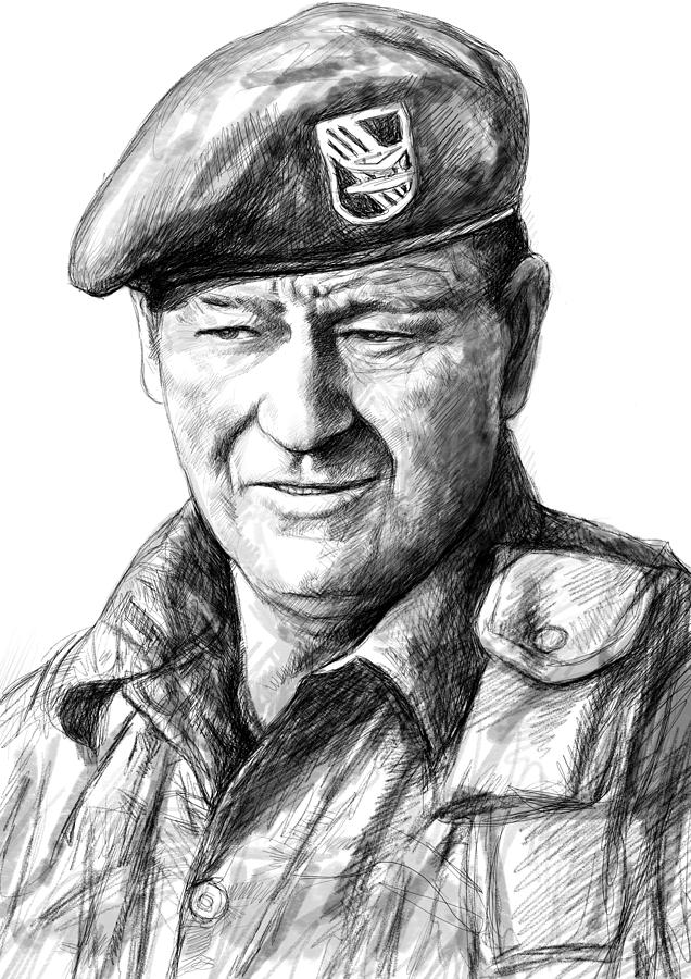 John Wayne Art Drawing Sketch Portrait Painting By Kim Wang