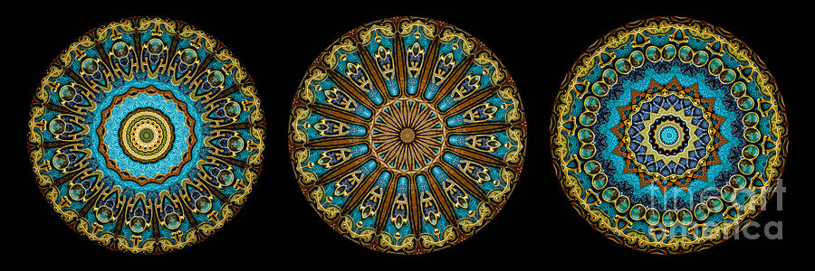 Kaleidoscope Steampunk Series Triptych Photograph