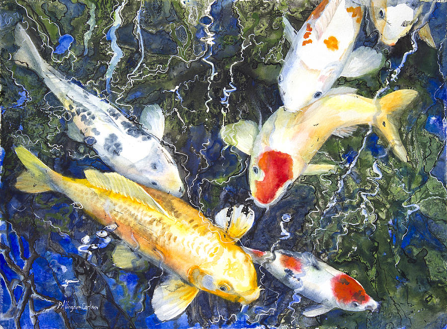 Koi Deep Blue Painting  - Koi Deep Blue Fine Art Print
