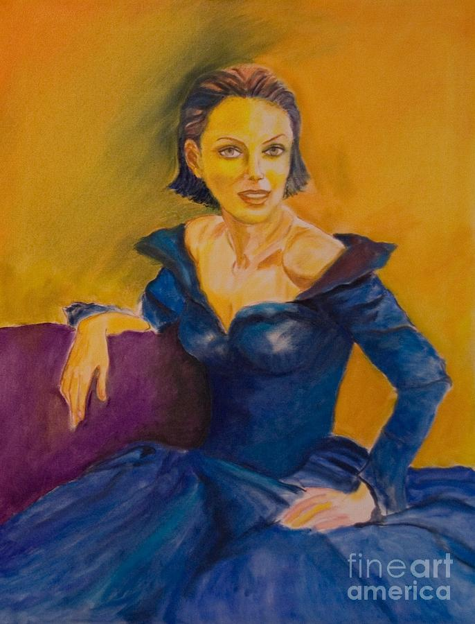 Lady In Blue Painting