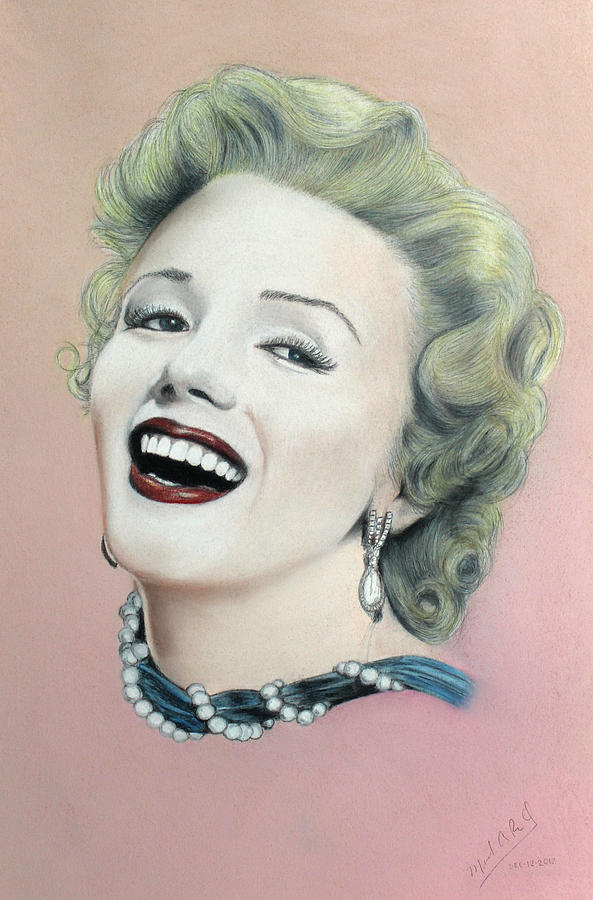 Marilyn Monroe Drawing - Lady In Pink Finished by Miguel Rodriguez