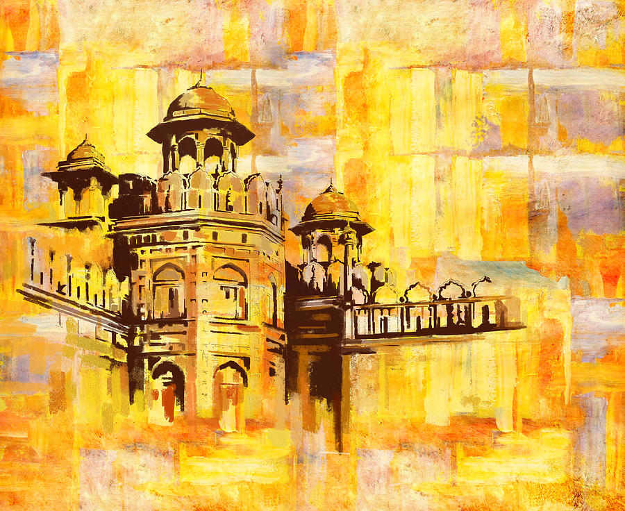 Lahore Fort Painting By Catf