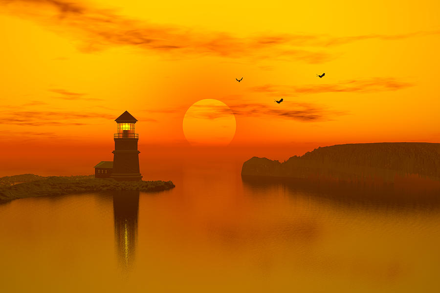Lighthouse At Sunset Digital Art  - Lighthouse At Sunset Fine Art Print