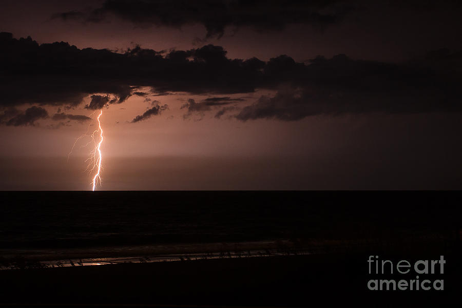 Amelia Island Photograph - Lightning Over The Ocean by Dawna  Moore Photography