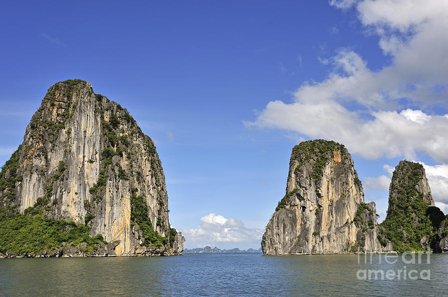 Limestone Karst Peaks Islands In Ha Long Bay Photograph  - Limestone Karst Peaks Islands In Ha Long Bay Fine Art Print