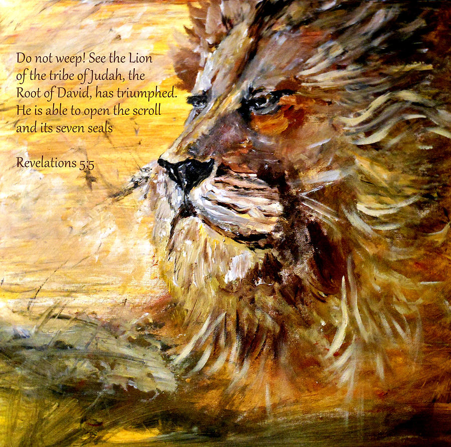 Then One Of The Elders Said To Me Painting - Lion Of Judah by Amanda Dinan