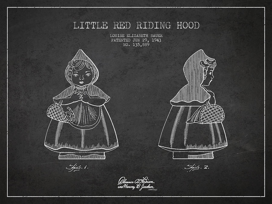 Little Red Riding Hood Patent Drawing From 1943 Digital Art