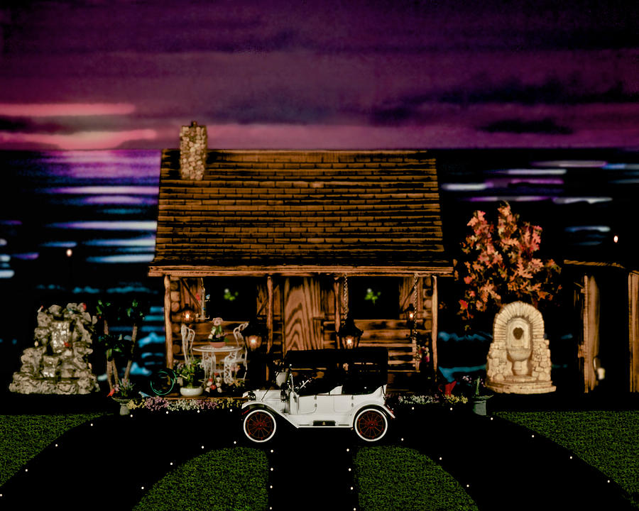 Log Cabin Scene At Sunset With The Old Vintage Classic 1913 Buick Model 25 Photograph  - Log Cabin Scene At Sunset With The Old Vintage Classic 1913 Buick Model 25 Fine Art Print