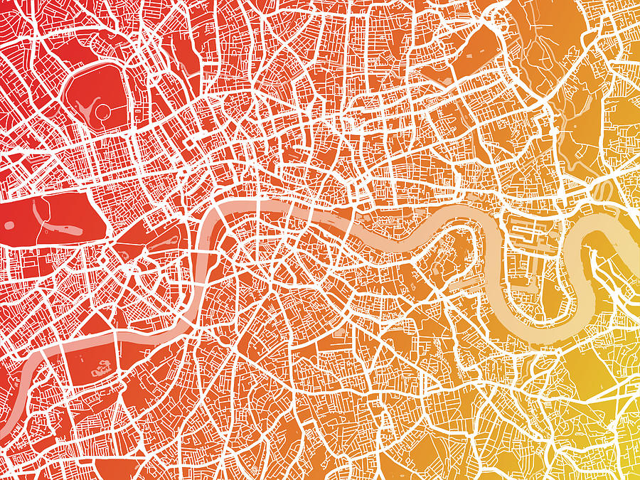 London England Street Map Digital Art