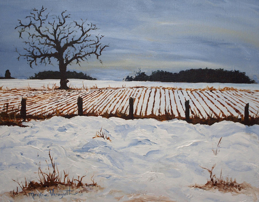 Lone Tree In Winter Painting