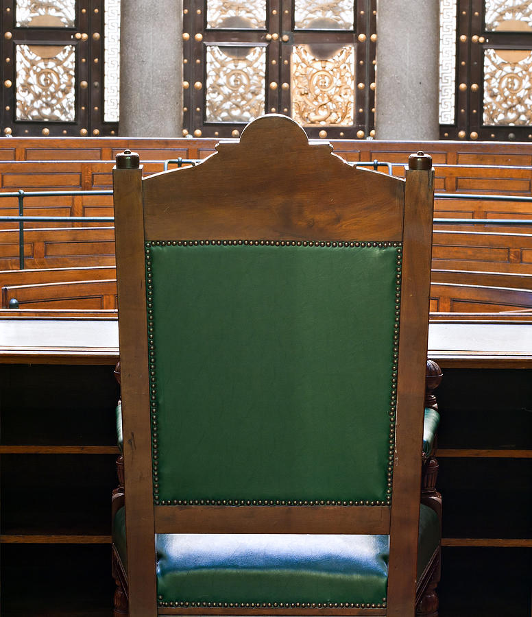 Looking Into Courtroom From Behind Judges Chair Photograph