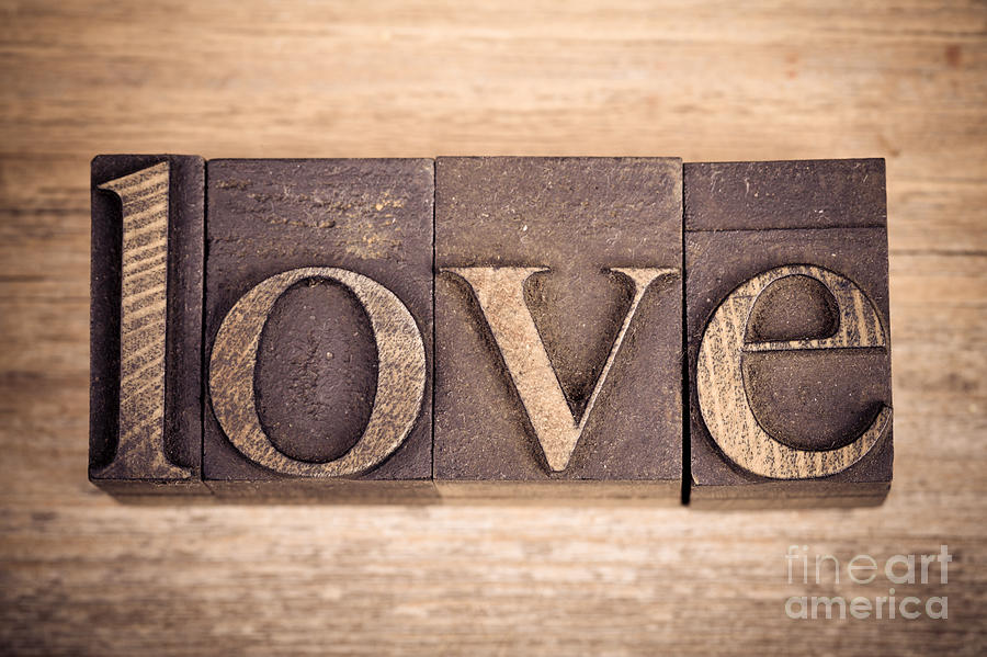 Aged Photograph - Love In Printing Blocks by Jane Rix