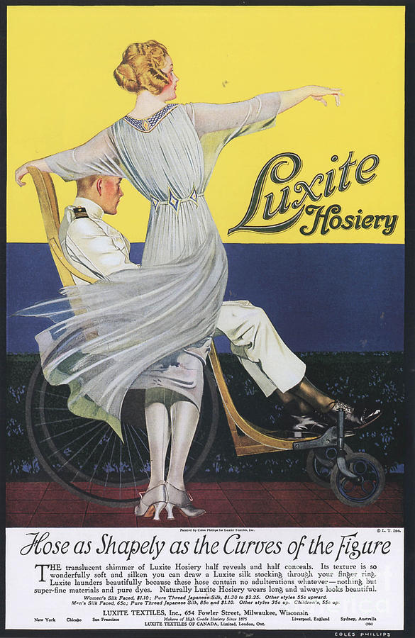 Luxite 1910s Usa Womens Hosiery Drawing  - Luxite 1910s Usa Womens Hosiery Fine Art Print
