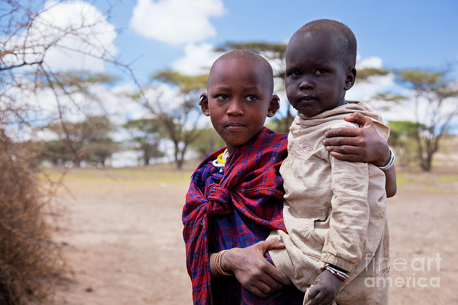 Maasai Children Portrait In Tanzania Photograph
