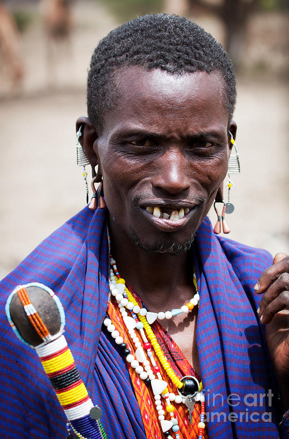 Maasai Man Portrait In Tanzania Photograph