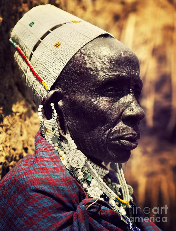 Maasai Old Woman Portrait In Tanzania Photograph