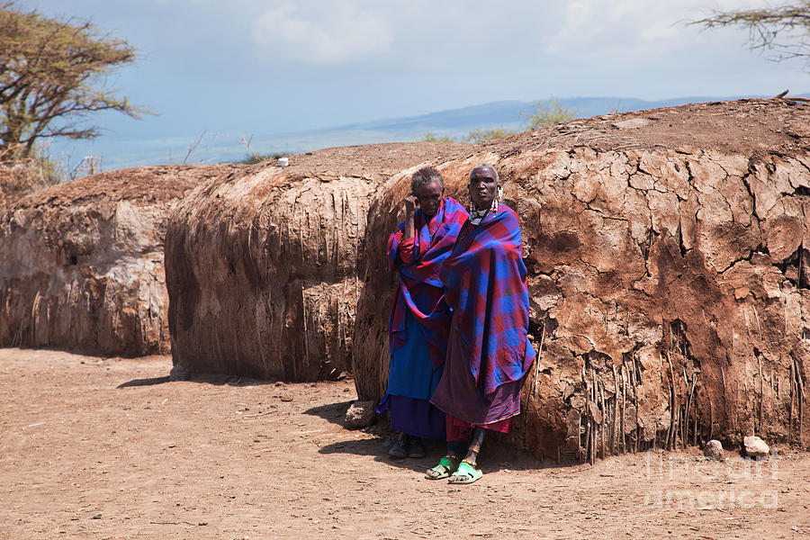Maasai People In Their Village In Tanzania Photograph  - Maasai People In Their Village In Tanzania Fine Art Print