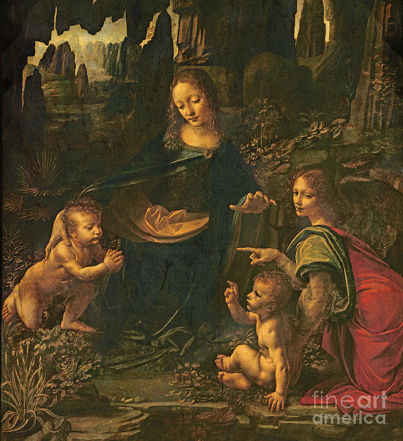 Madonna Of The Rocks Painting