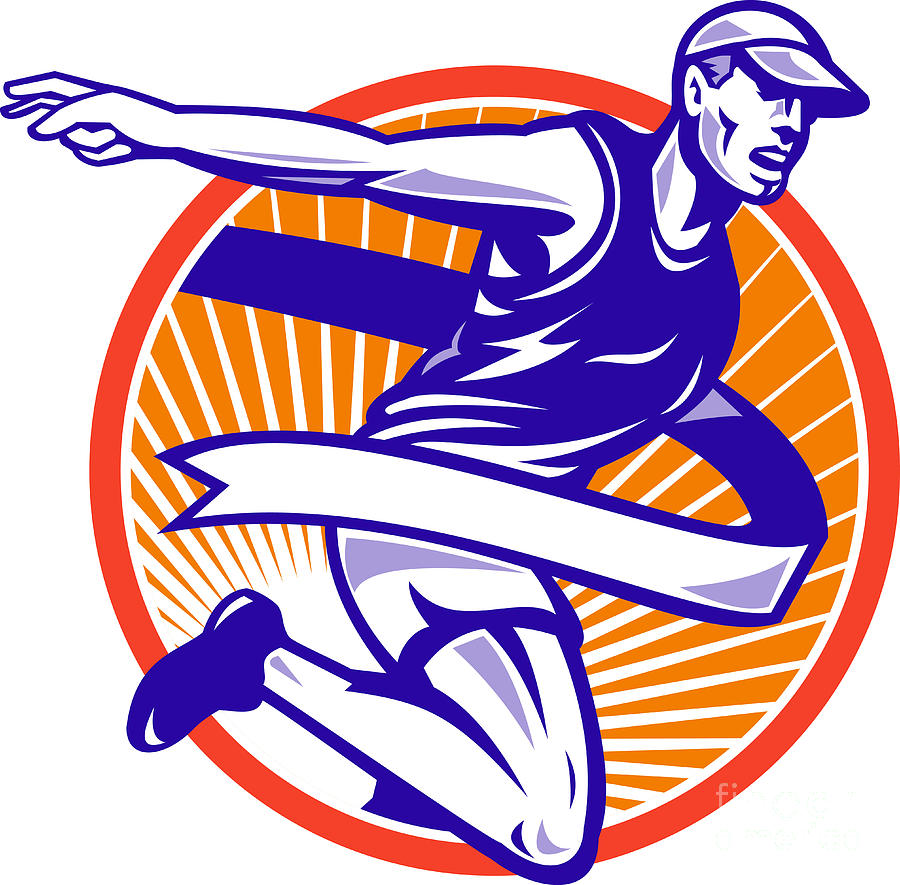 Male Marathon Runner Running Retro Woodcut Digital Art