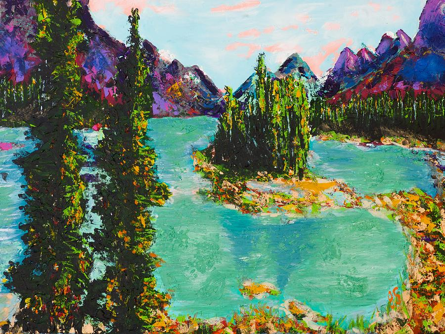 Maligne Lake Jasper Alberta Mountain Painting  - Maligne Lake Jasper Alberta Mountain Fine Art Print