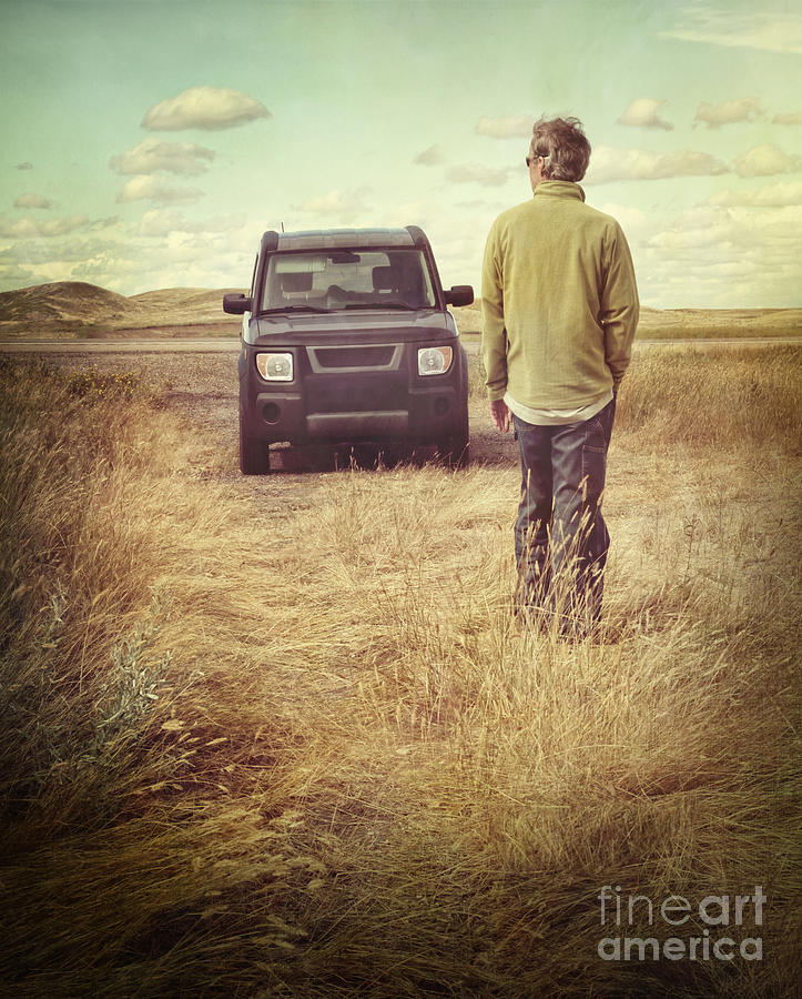 Man Standing In Front Of Car In Field Photograph  - Man Standing In Front Of Car In Field Fine Art Print