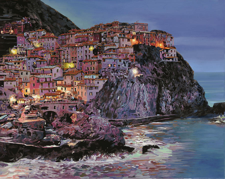 Manarola At Dusk Painting  - Manarola At Dusk Fine Art Print
