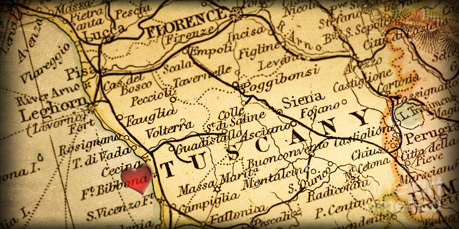 Map Of Florence Tuscany Italy Europe In A Antique Distressed Vin Photograph