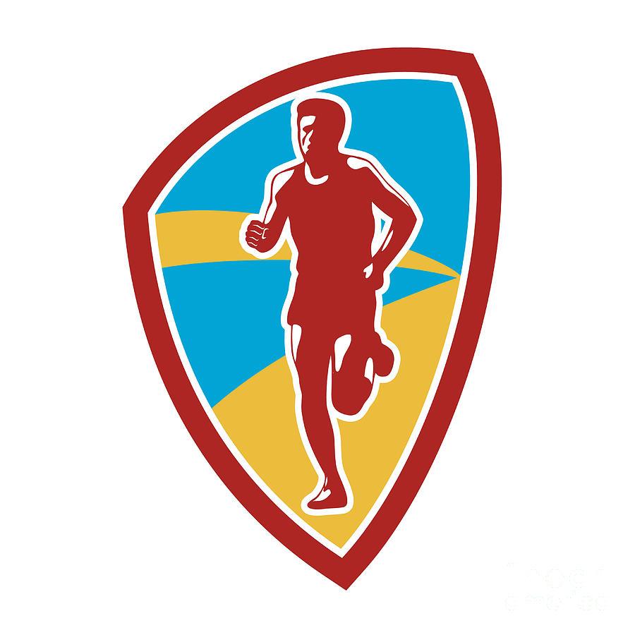 Marathon Runner Shield Retro Digital Art