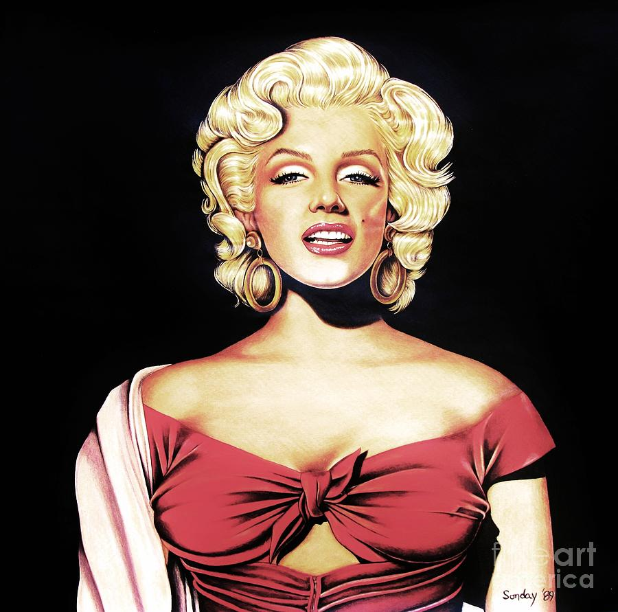 Marilyn In Red Drawing  - Marilyn In Red Fine Art Print