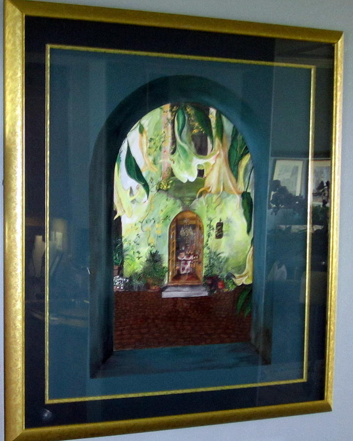 Arched Window With Trumpet Flowers Lookiing Onto An Italian Courtyard And Into Arched Double Doors Into Dining Room. Framed And Matted Painting - Mattina Nel Cortile by Cheryll Landis