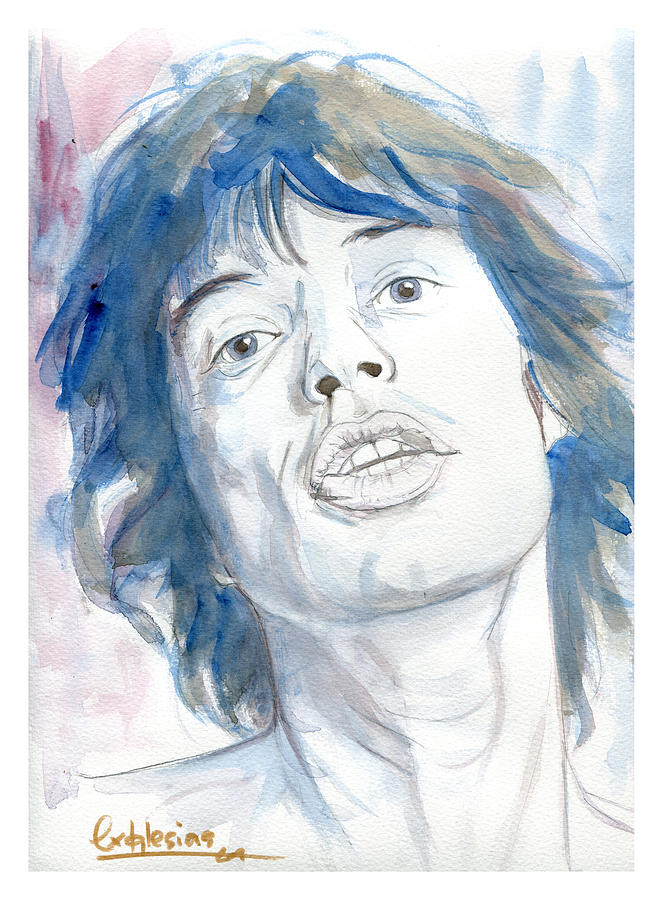 Portrait Painting - Mick Jagger by David Iglesias