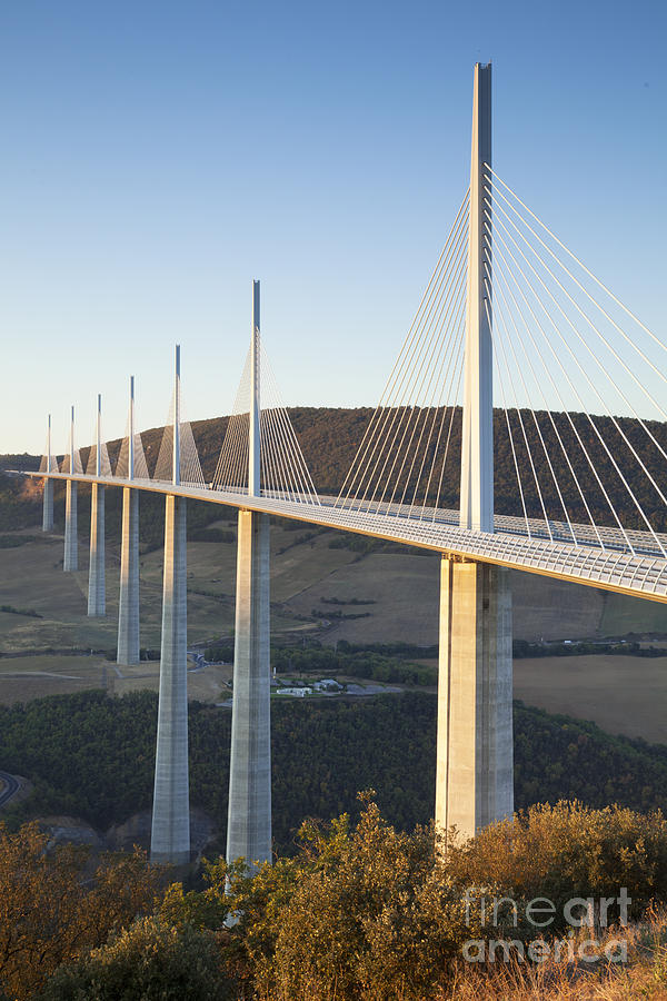 Millau Viaduct At Sunrise Midi-pyrenees France Photograph
