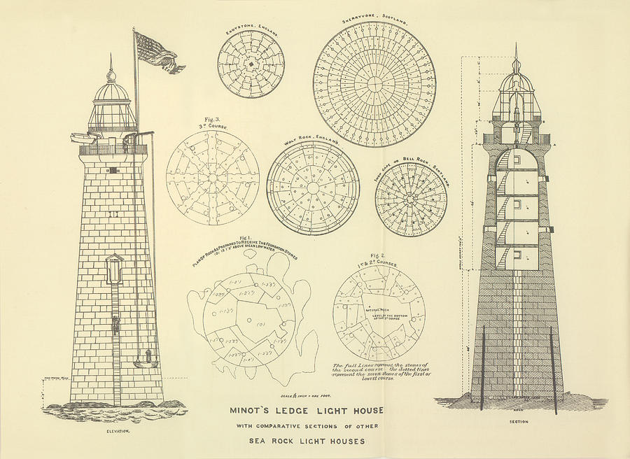 Minots Ledge Lighthouse Drawing