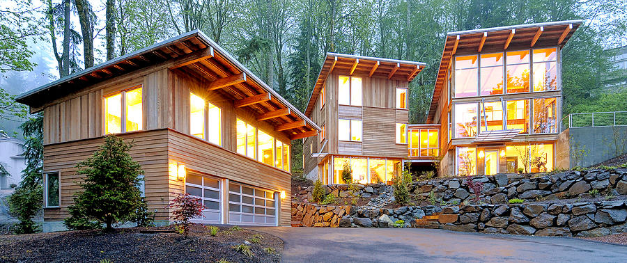 Modern Home In Woods Photograph