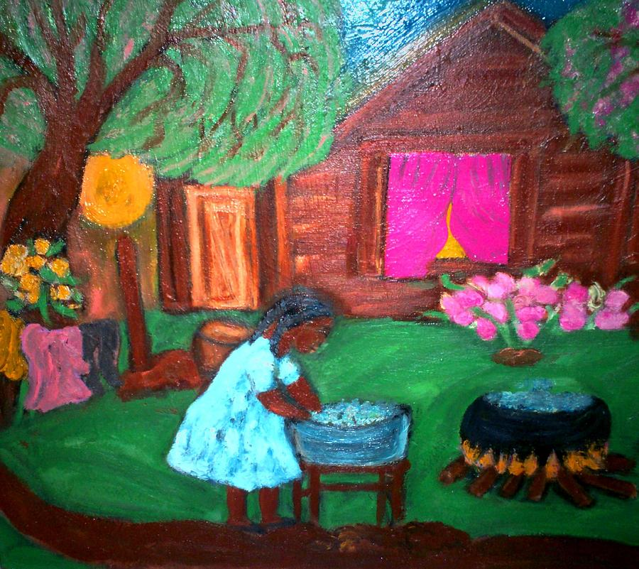 Brown Cabin Wash Tub Blue Dress Black Lady Clothes On Line Washing Black Was Pot Primitive Art Folkart Primitiveblackart Blackfolkart Ameicana Ruralart Southerngenre Southernculture Africacinamericanart Originalpaintings Paintingsbymildredchatman Painting - Monday Morning by Mildred Chatman