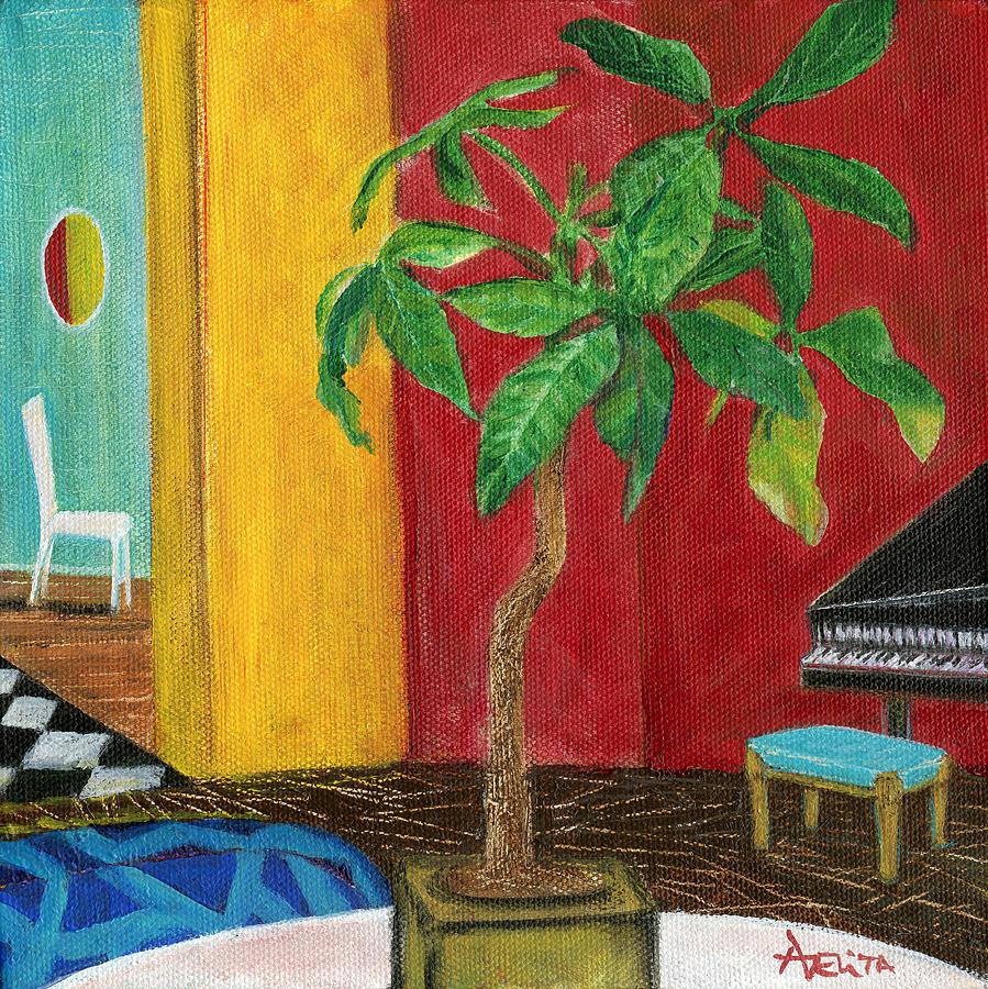 Adelita Painting - Money Tree In The Music Room by Adelita Pandini