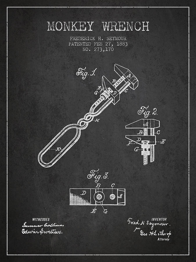 Monkey Wrench Patent Drawing From 1883 Drawing