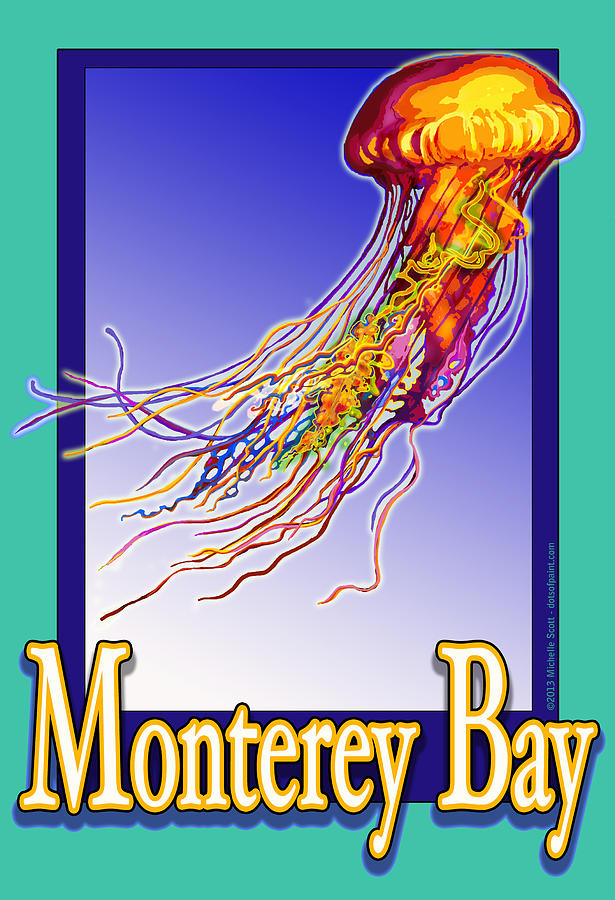 Monterey Bay Jellyfish Digital Art  - Monterey Bay Jellyfish Fine Art Print