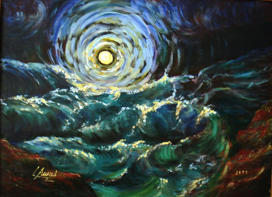 Moon And Waves Painting